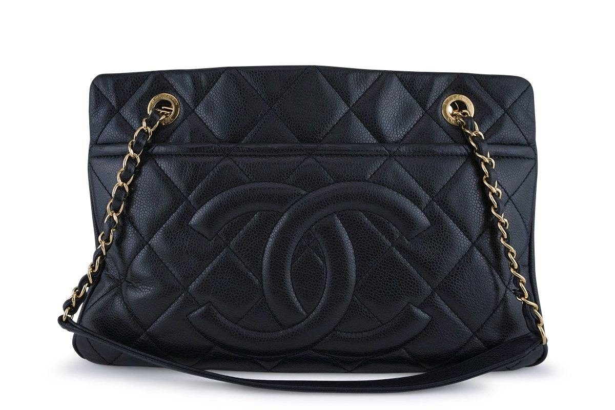 Chanel Black Caviar Timeless Tote GST Grand Shopping Bag GHW