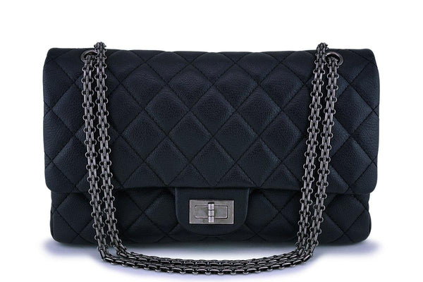 Rare Chanel Black 227 Chevre Goatskin Large Classic Reissue 2.55 Flap Bag