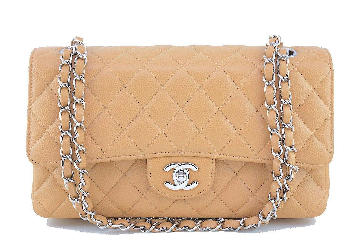 Chanel Beige Caviar Medium Classic 2.55 Double Flap Bag