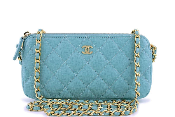 New 18C Chanel Irisdescent Blue Caviar Double Zip Wallet on Chain Clutch WOC Bag