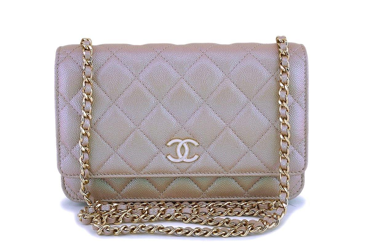 19S Chanel Iridescent Taupe Beige Rose Gold Pearly CC Wallet on Chain WOC Flap Bag