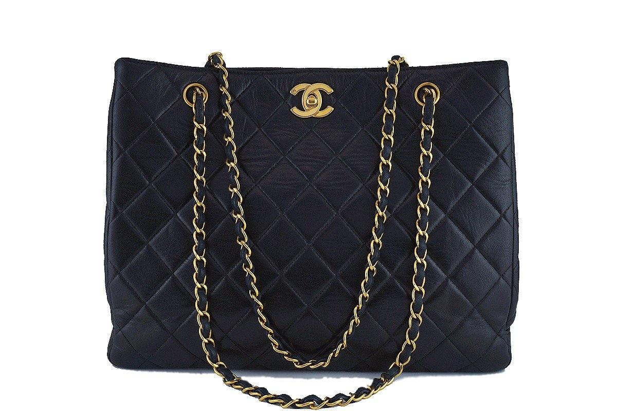 Chanel Black Classic Quilted Shopper Tote Bag 24k Gold Plated