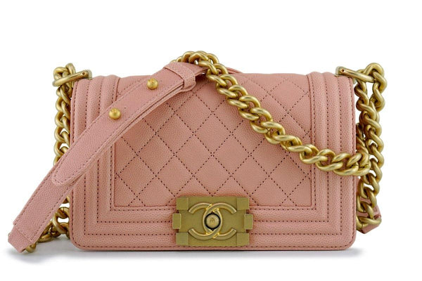 New 18P Chanel Pink-Beige Caviar Small Classic Boy Bag Flap GHW
