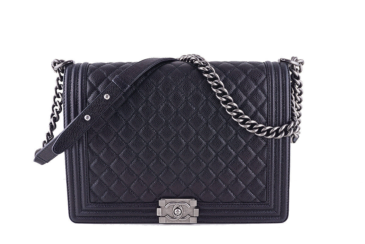 Chanel Black Caviar Boy Bag, Jumbo Large Classic Flap RHW