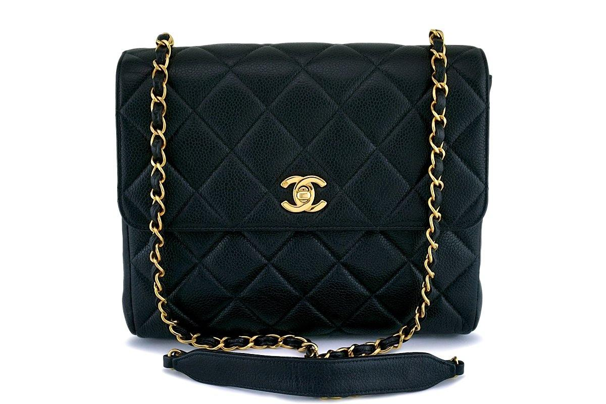 Chanel Black Caviar Vintage Quilted Classic Crossbody Flap Bag