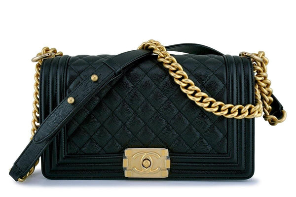 NIB Chanel Black Caviar Classic Medium Boy Flap Bag GHW