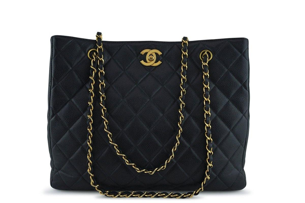Chanel Black Caviar Classic Quilted Shopper Tote Bag 24kgp