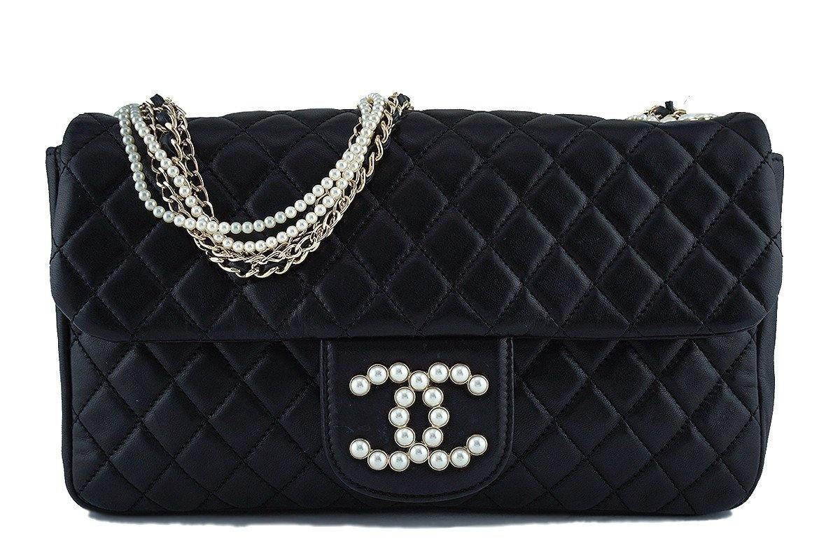 13fae54f70cd5b Chanel Black Rare Westminster Pearl Classic Quilted Flap Bag