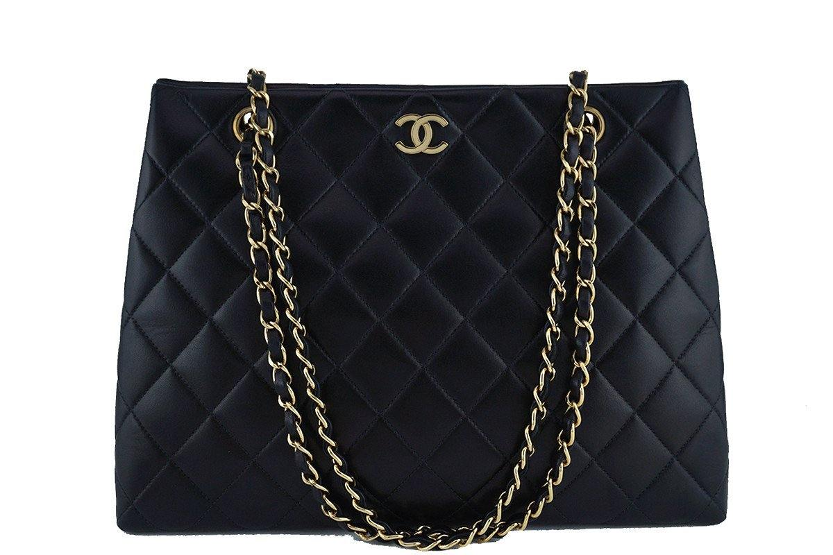 Chanel Black Lambskin Classic Quilted Shopper Tote Bag