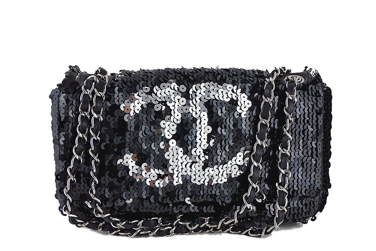 Chanel Black/Silver LIMITED Summer Nights Sequins Reversible Flap Bag - Boutique Patina  - 1