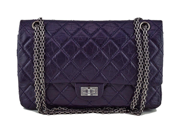 Chanel Dark Purple Distressed Calf 226 Classic Reissue 2.55 Flap Bag