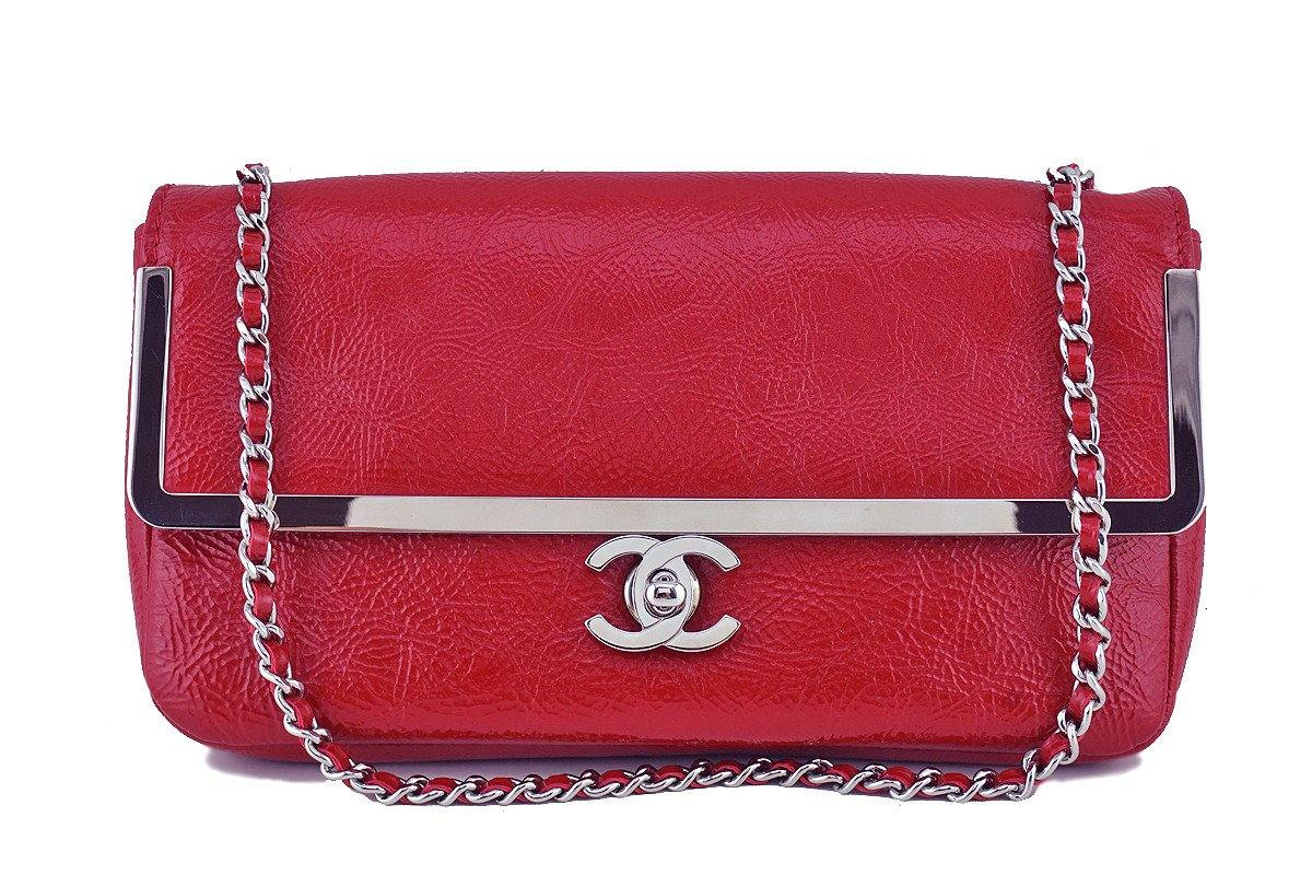 Chanel Red Textured Patent Luxe Frame Classic Flap Bag