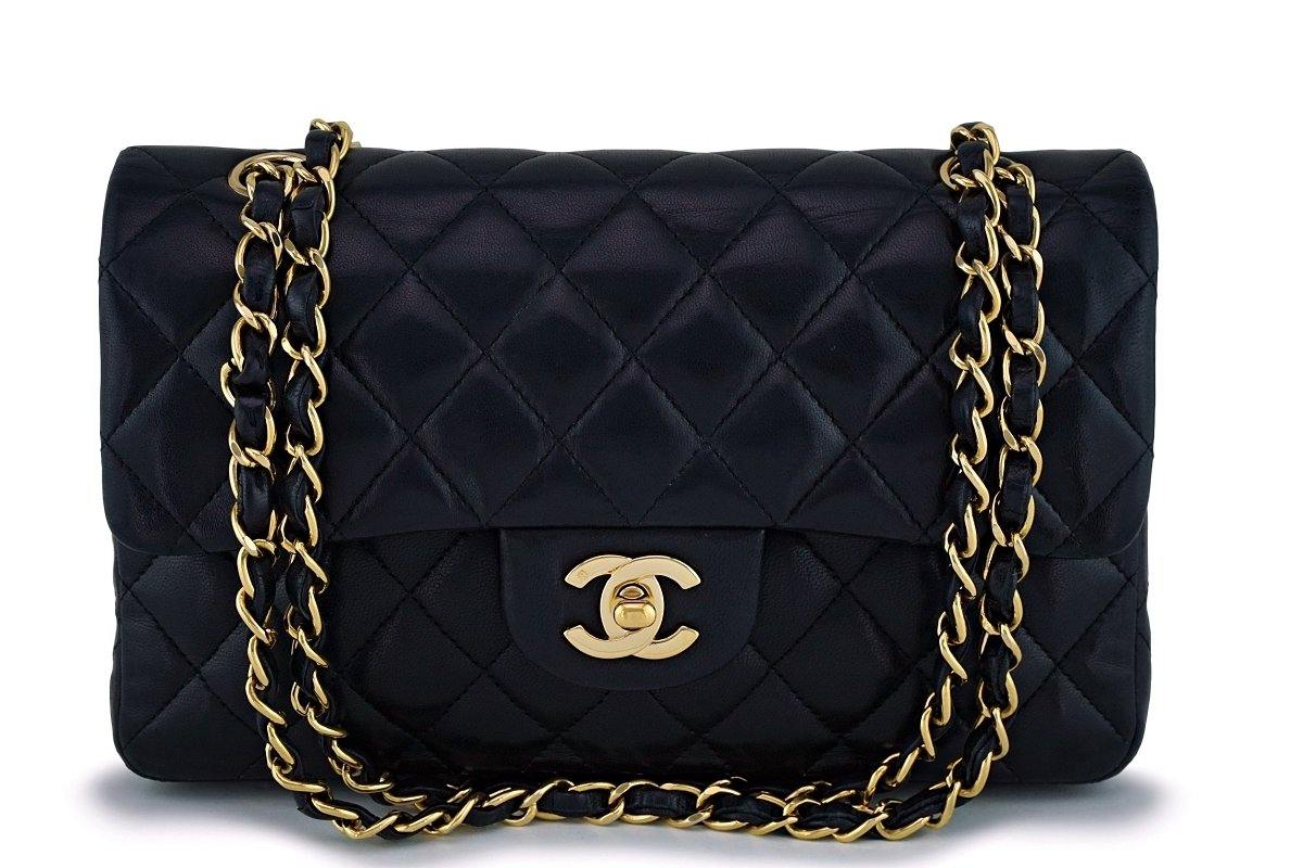 Chanel Black Small Lambskin Classic Double Flap Bag 24k GHW - Boutique Patina