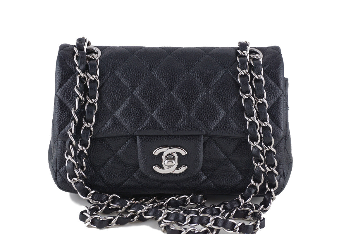 Chanel Black Caviar Mini Flap, Classic 2.55 Rectangular Bag