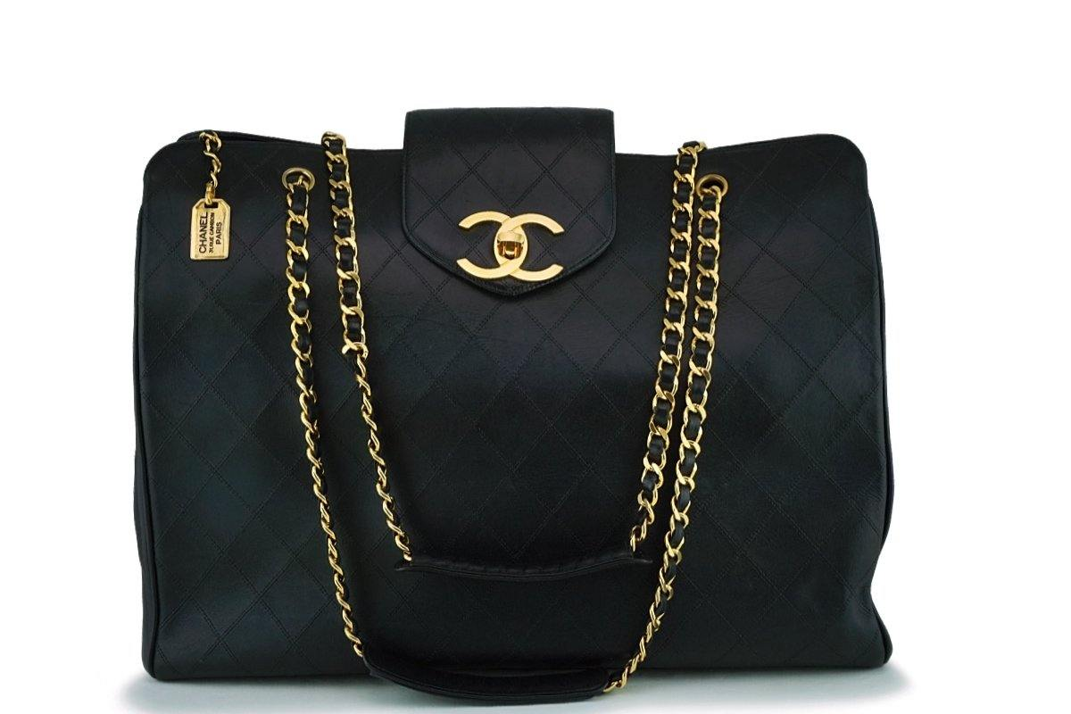 2f5aad82c910 Chanel Vintage Black Weekender Supermodel XL Shopper Tote Bag ...