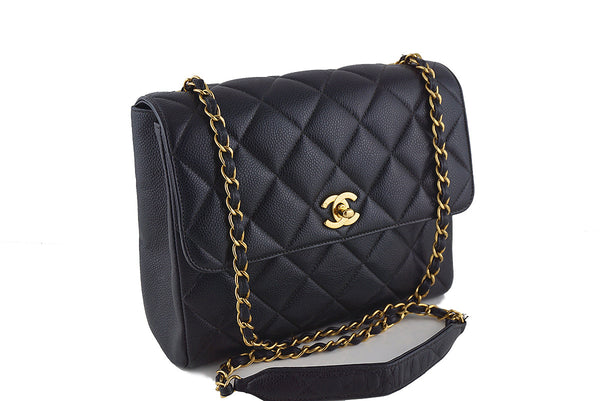 Chanel Black Caviar Square Quilted Classic Flap Bag