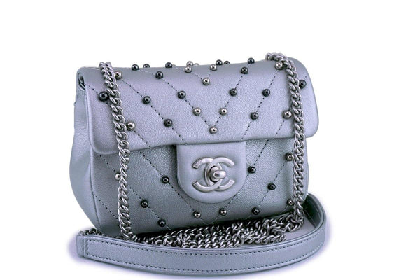 Chanel Silver Pearl Chevron Quilted Classic Mini Flap Bag Limited