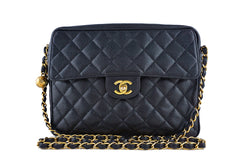 Chanel Black Caviar Classic Quilted Flap Camera Purse Bag - Boutique Patina  - 1
