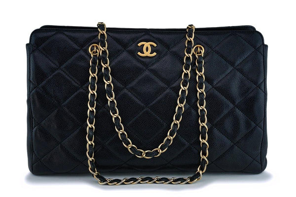 Chanel Black Caviar Quilted Large Shopper Tote Bag GHW