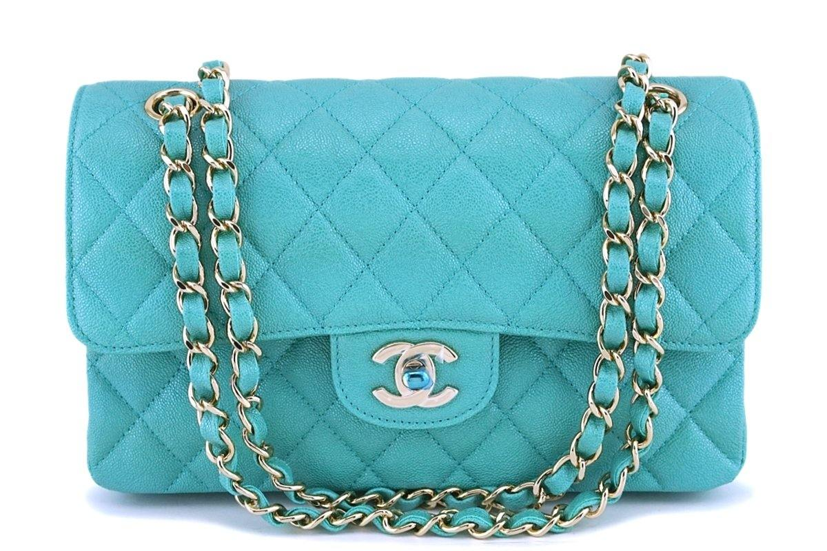 NIB 19S Chanel Iridescent Green Caviar Small Classic Double Flap Bag GHW