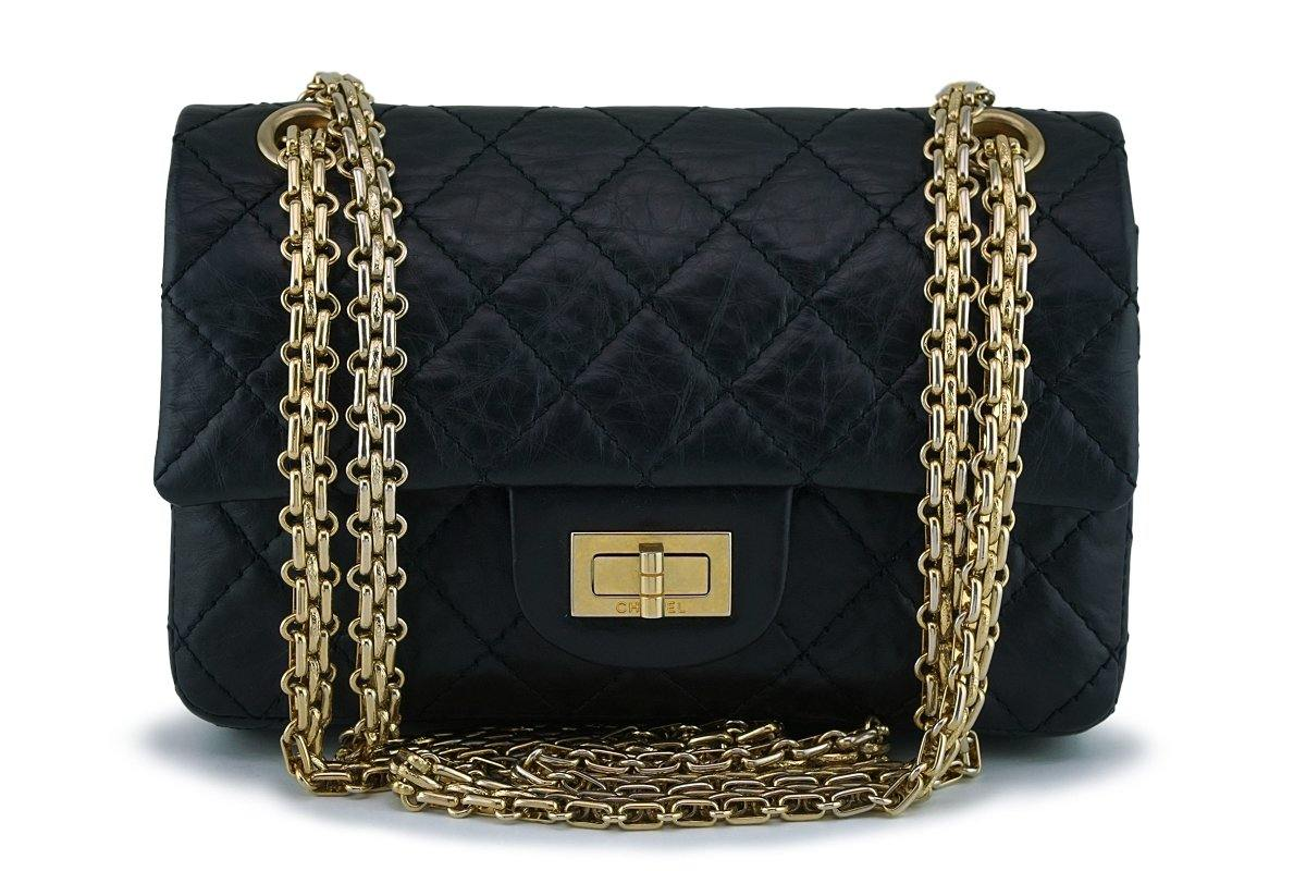 f31009531438 Chanel Black Aged Calf 224 Mini Classic Reissue 2.55 Flap Bag GHW