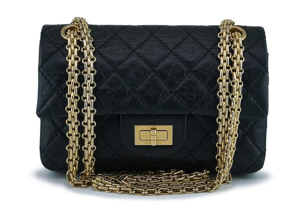 Chanel Black Aged Calf 224 Mini Classic Reissue 2.55 Flap Bag GHW