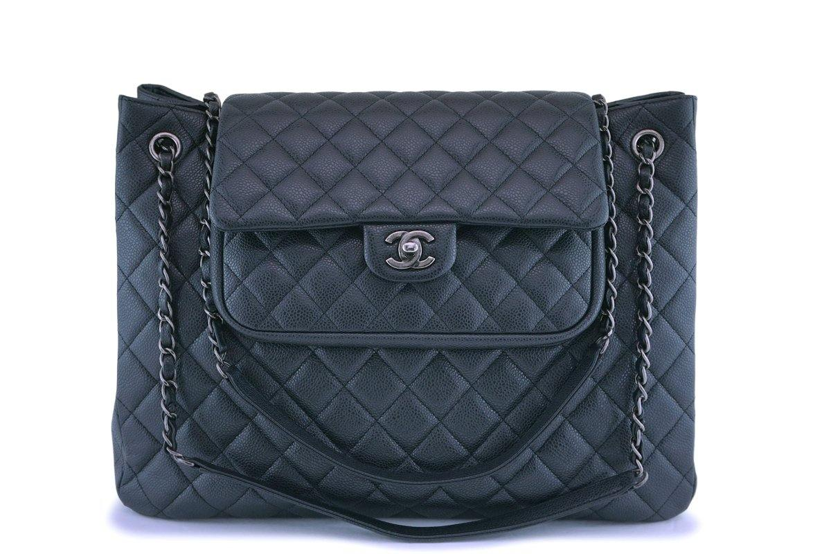 Chanel Charcoal Gray Caviar Classic Flap Timeless Tote Bag - Boutique Patina