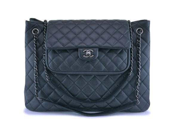 Chanel Charcoal Gray Caviar Classic Flap Timeless Tote Bag