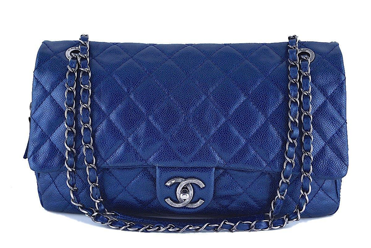 Chanel Blue Caviar Iridescent/Metallic Jumbo-sized Classic Easy Flap Bag - Boutique Patina  - 1