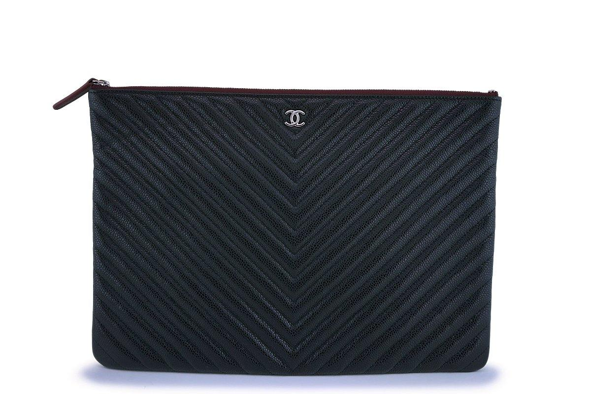 NIB 19C Chanel Black Caviar Chevron Classic Large O Case Clutch Bag