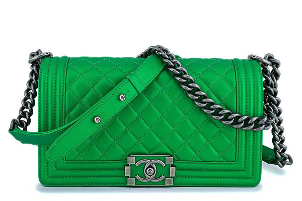 Rare Chanel 14K Metallic Green Medium Boy Flap Bag RHW