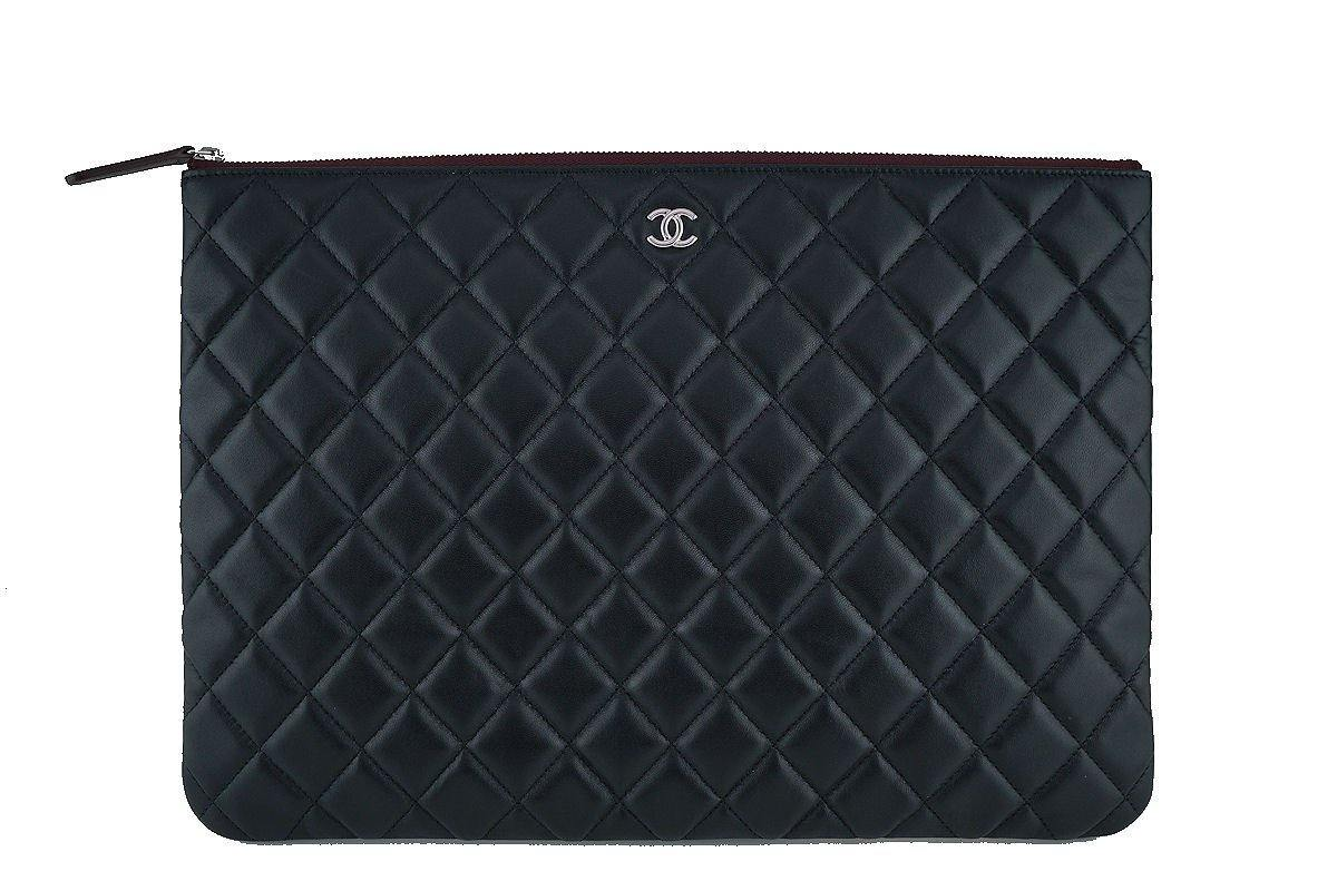 NWT 17S Chanel Large Black Lambskin Classic Quilted O Case Clutch Purse Bag