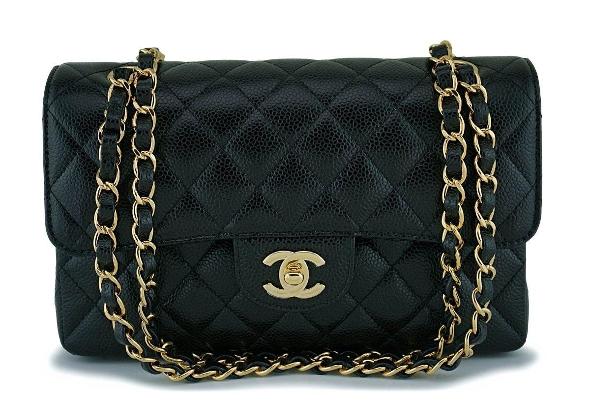 NIB Chanel Black Caviar Small Classic Double Flap Bag GHW - Boutique Patina