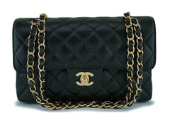 NIB Chanel Black Caviar Small Classic Double Flap Bag GHW