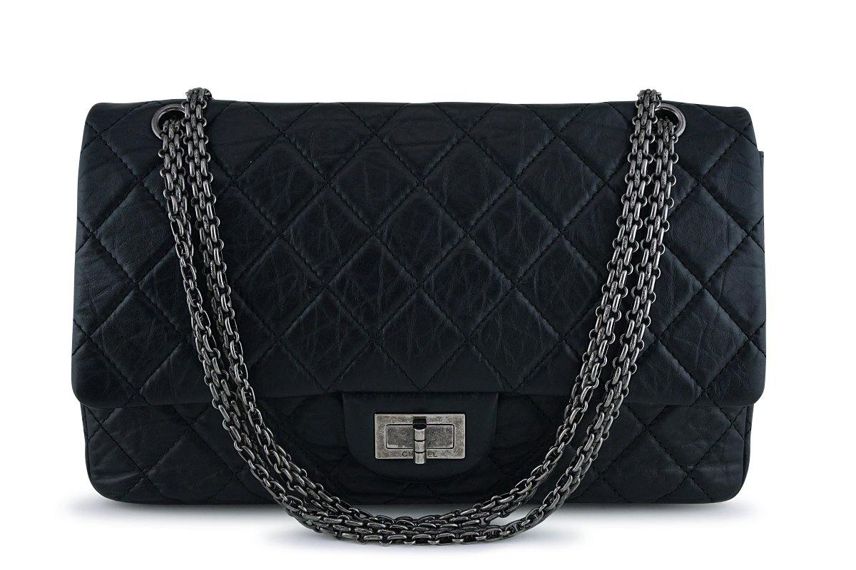 Chanel Black 227 Reissue 2.55 Jumbo Classic Double Flap Bag RHW