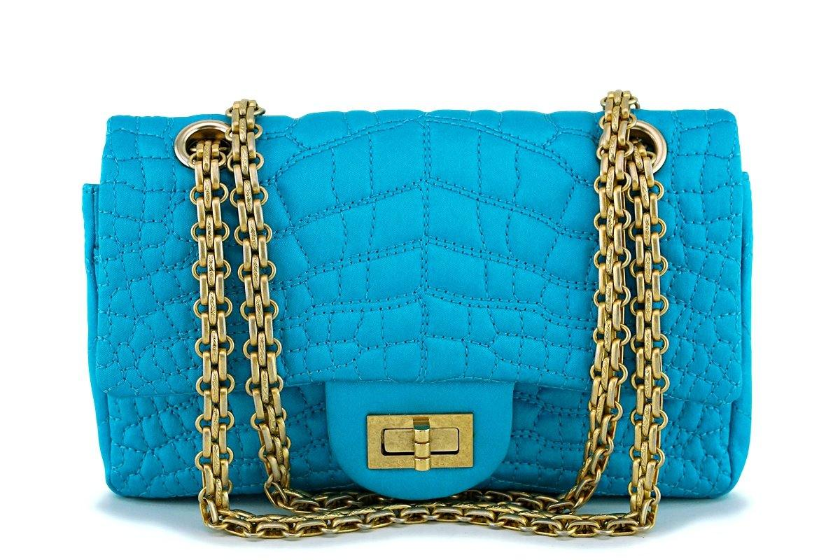 Chanel Turquoise Blue Small/Mini Satin 224 Classic 2.55 Reissue Flap Bag GHW - Boutique Patina