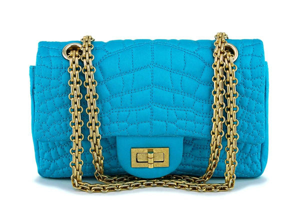 Chanel Turquoise Blue Small/Mini Satin 224 Classic 2.55 Reissue Flap Bag GHW