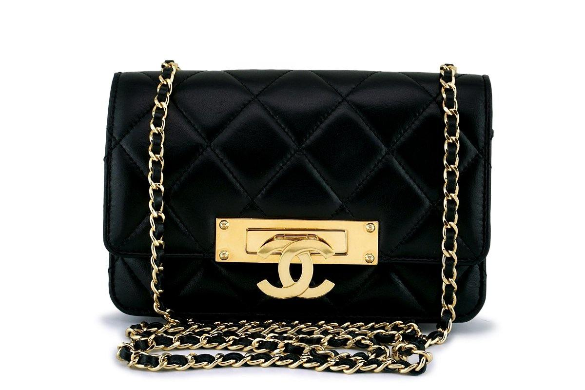 Rare Chanel Black Original Golden Class Big CC Wallet on Chain WOC Flap Bag GHW