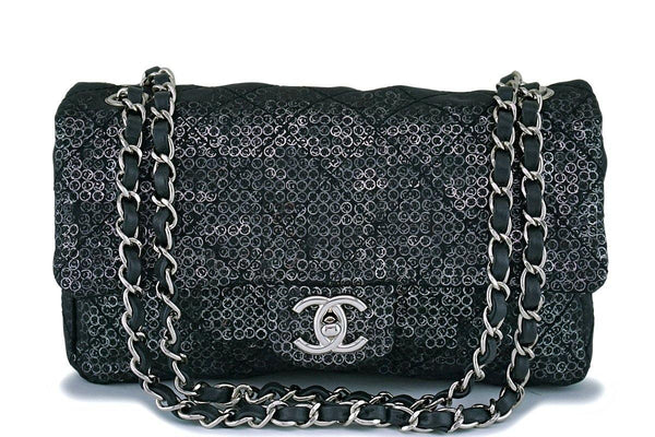 Chanel Limited Black Sequin-Mesh Quilted Classic Flap Bag