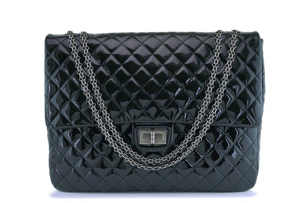 Chanel Oversized Black Patent Classic Reissue XL Flap Bag RHW