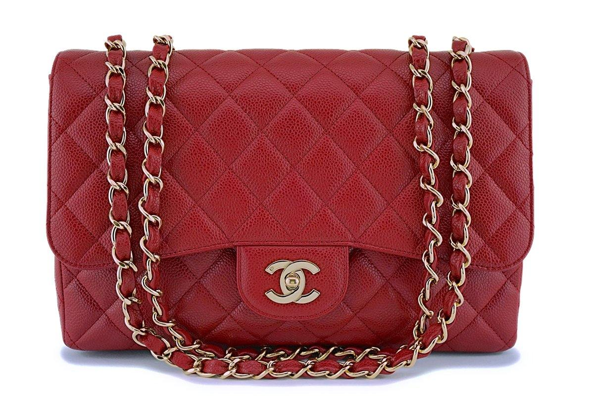 Chanel Red Caviar Jumbo Classic Flap Bag 24k GHW