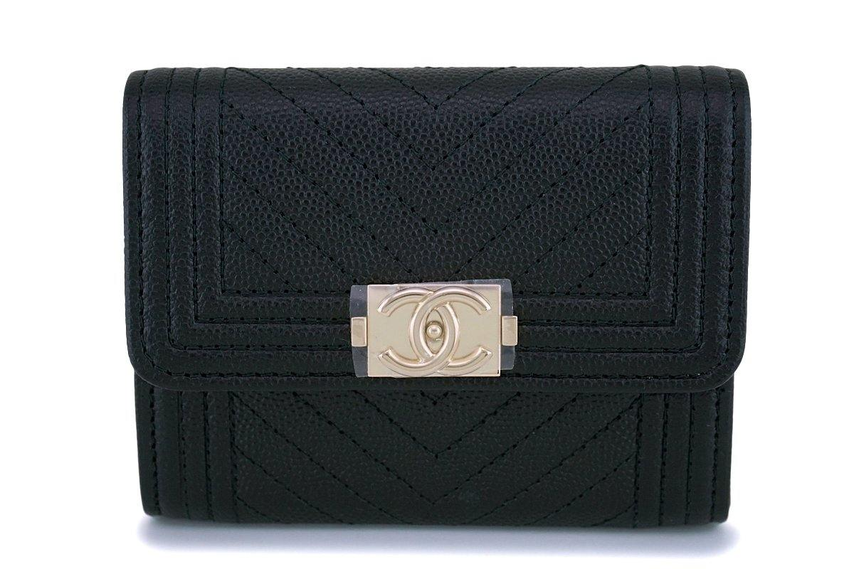 NIB 18S Chanel Black Caviar Chevron Boy XL Card Wallet Case GHW
