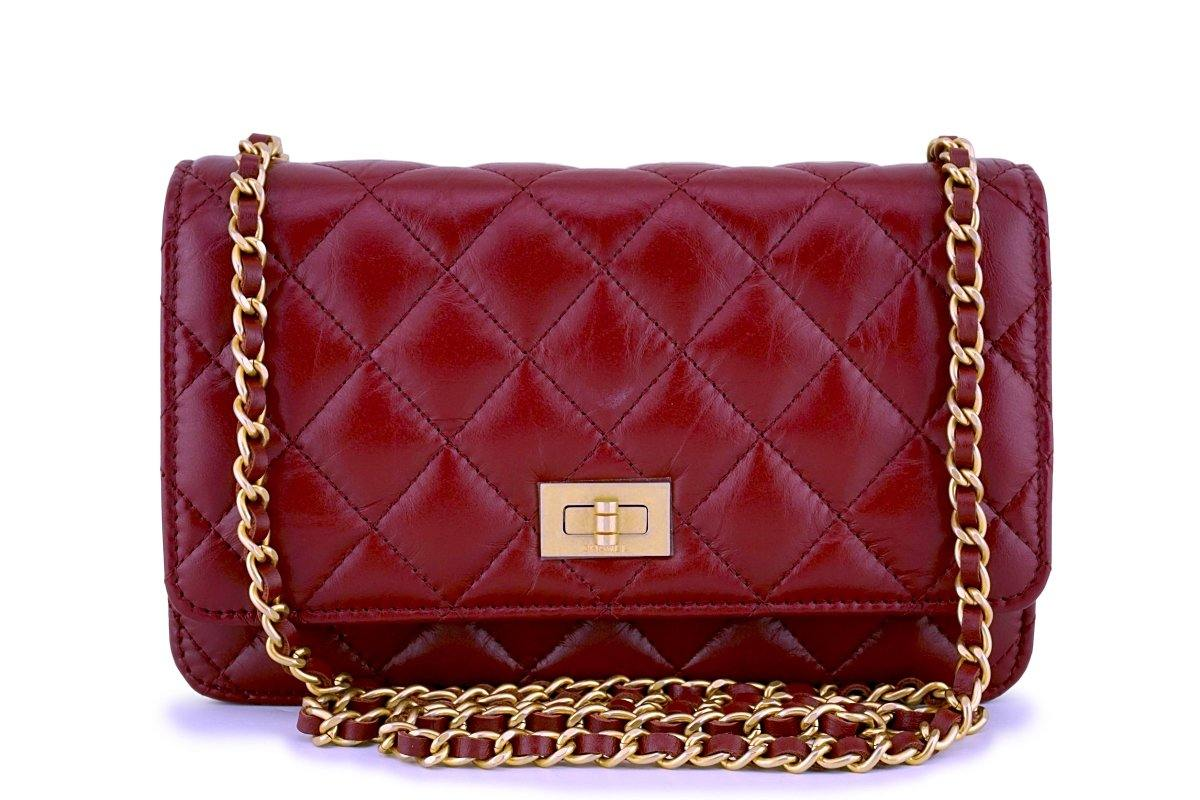 NIB 18P Chanel Red Classic Reissue WOC Wallet on Chain Bag