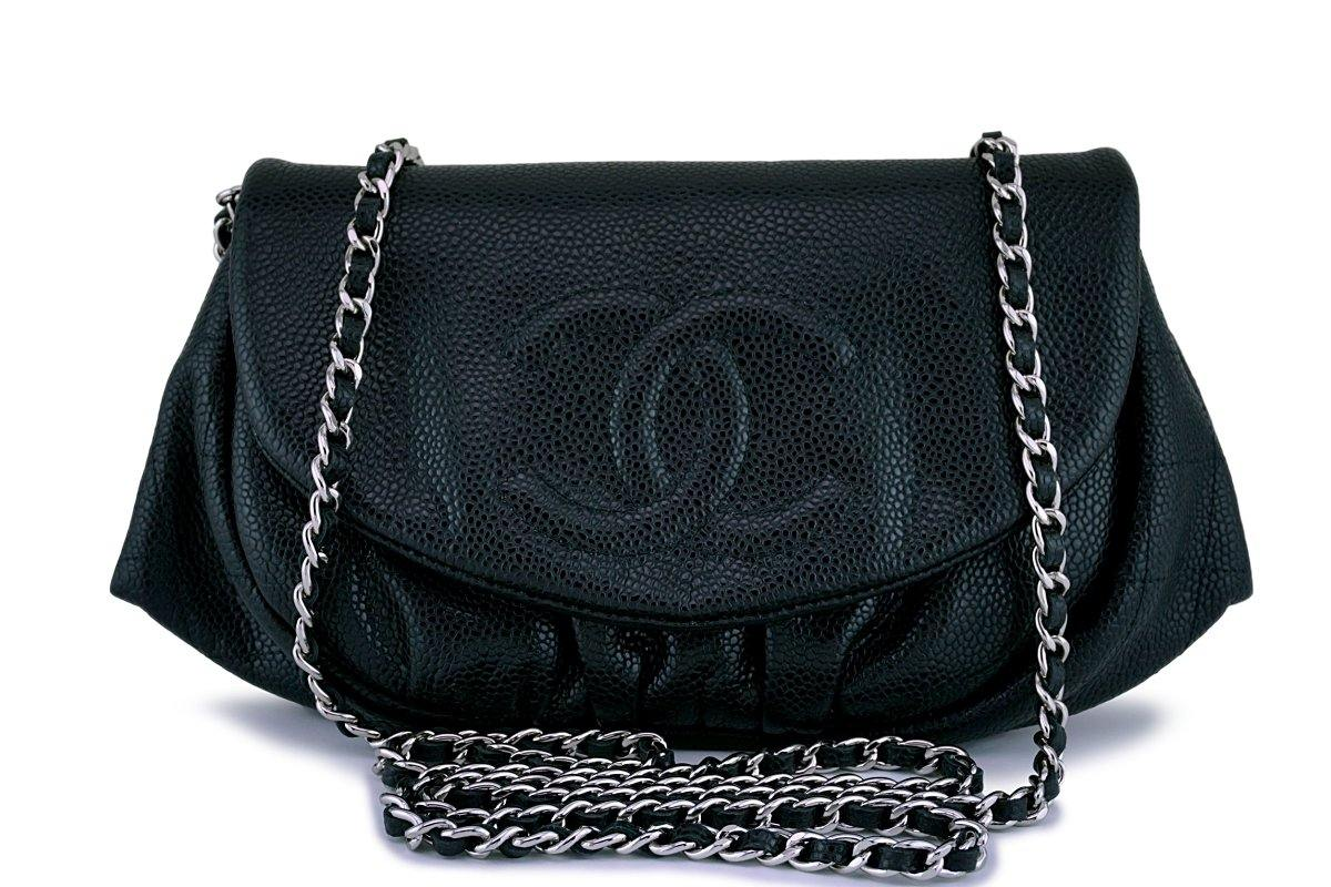 Chanel Black Caviar Half Moon WOC Wallet Chain Bag SHW