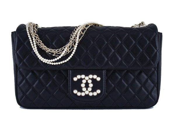 Rare Chanel Black Westminster Pearl Classic Quilted Flap Bag