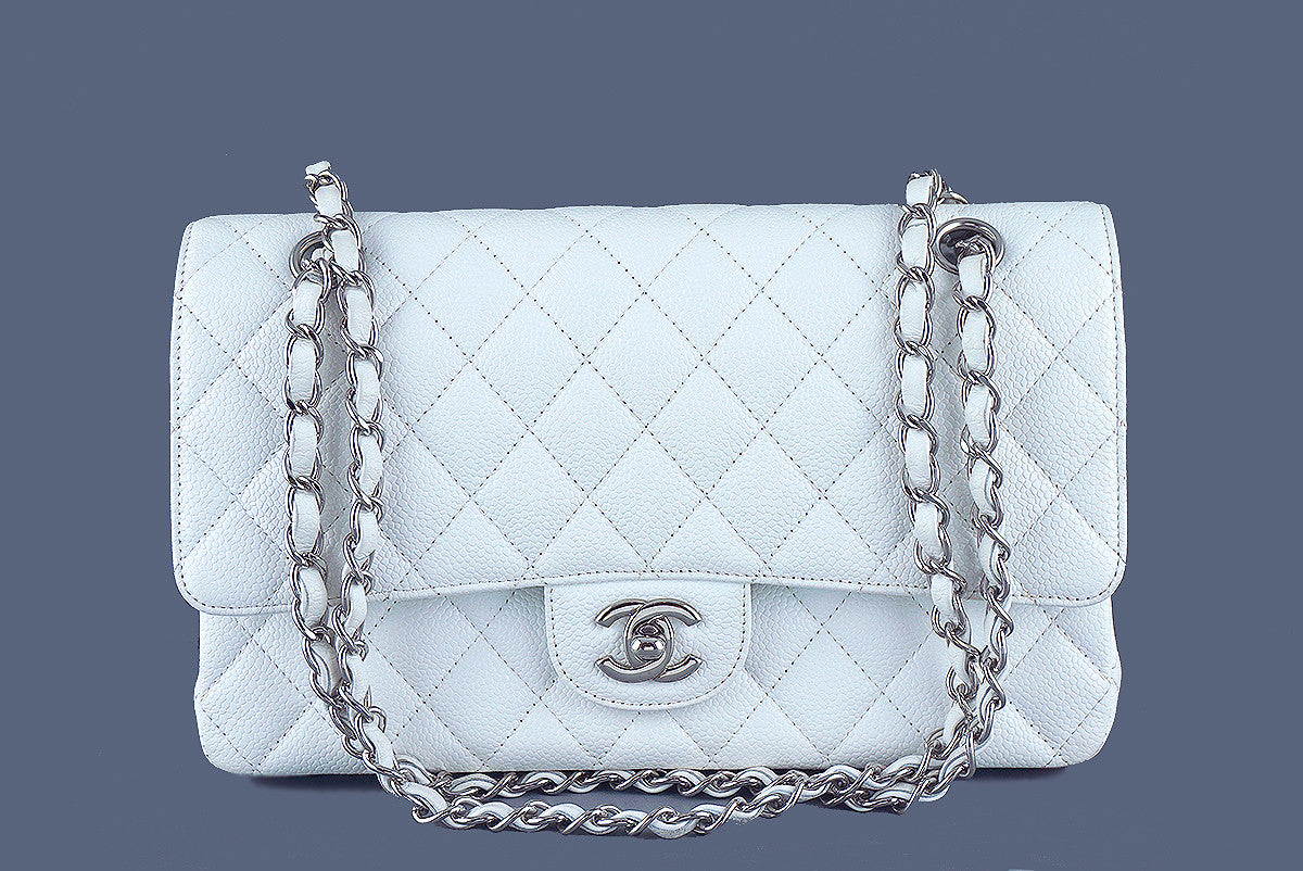 Chanel Caviar Classic 2.55 Flap Bag, White Medium-Large - Boutique Patina  - 1