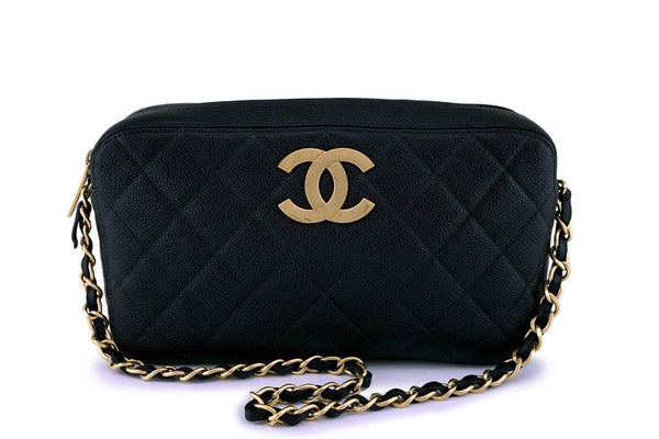 Chanel Vintage Black Caviar Large CC Camera Case Bag