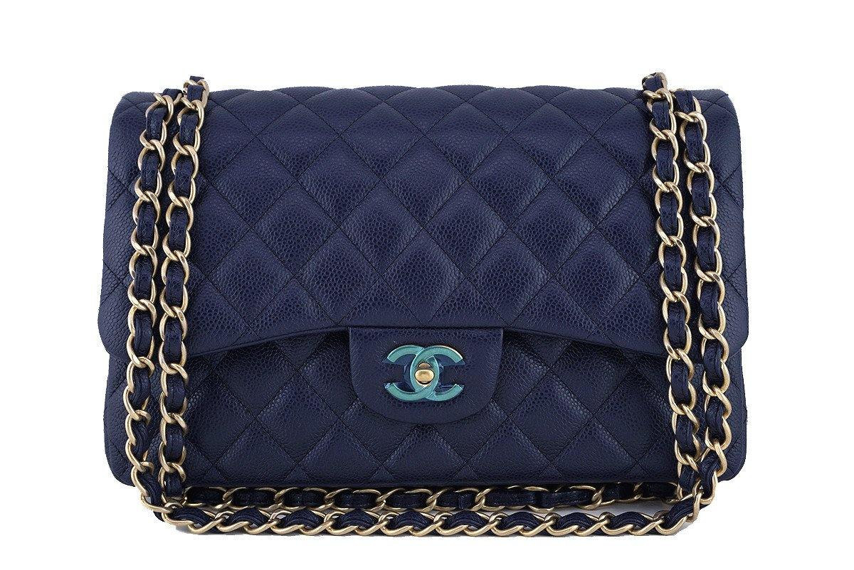 Chanel Navy Blue Caviar Jumbo 2.55 Classic Double Flap Bag - Boutique Patina  - 1