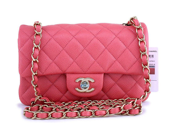 NWT 18S Chanel Pearly Pink  Caviar Classic Quilted Rectangular Mini Flap Bag