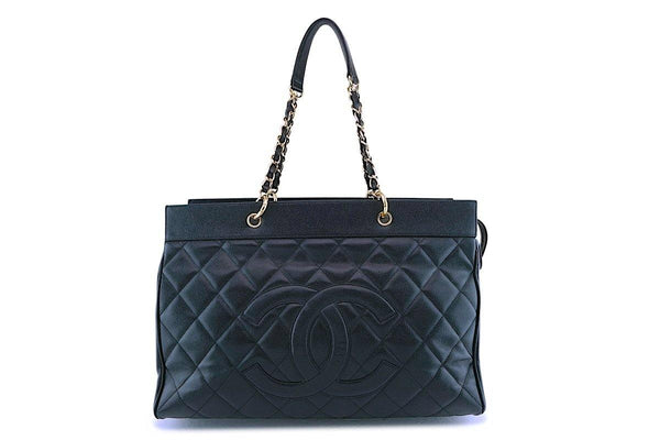 Chanel Vintage Black Caviar Weekender XXL GST Travel Tote Bag